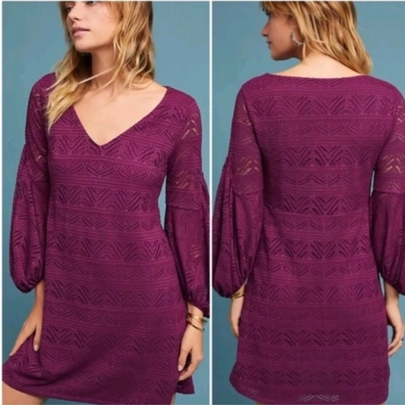 1589983f9c3d Maeve Dresses & Skirts - Maeve Laila lace purple dress w/balloon sleeves M